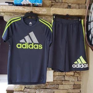 Youth Adidas Athletic Shorts & Shirt - Youth Large